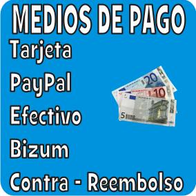 MEDIOS DE PAGO ACEPTADOS: TRANSFERENCIA, PAYPAL, TARJETA BIZUM, CONTRAREEMBOLSO, EFECTIVO